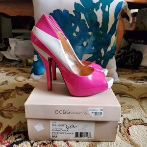Used BCBGENERATION Pink and White Open Toe Pumps